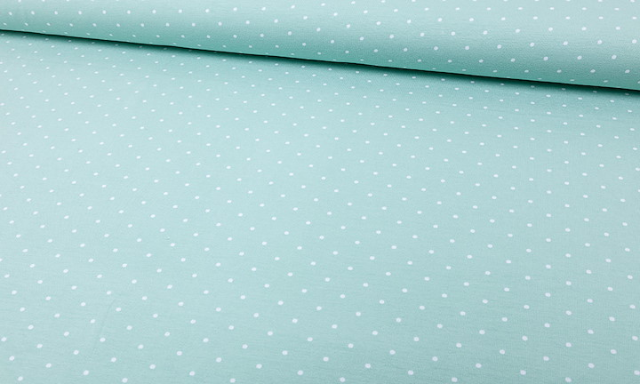 Jersey Tiny Dots Mint Weiss